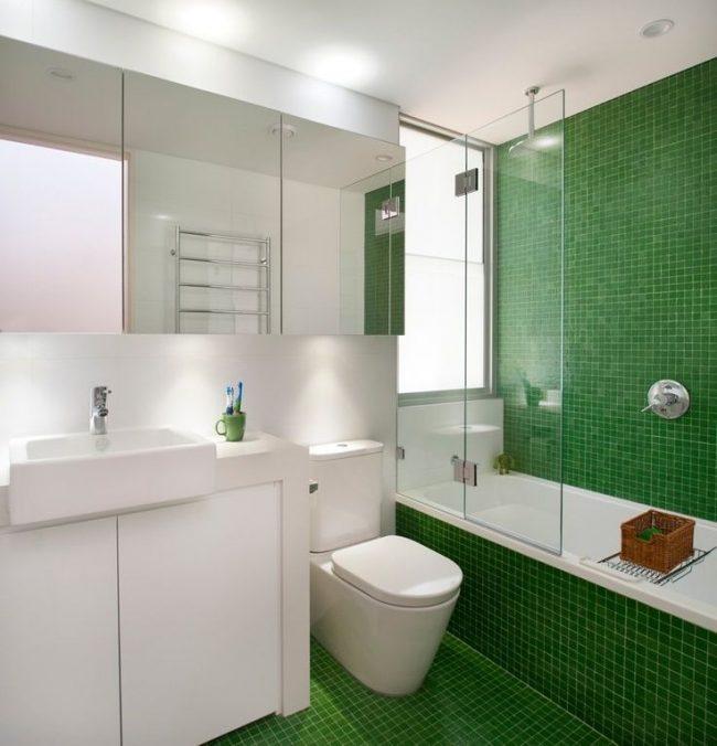 Une chambre fraîche avec une décoration murale et au sol avec des petits carreaux verts et un rideau de verre pour la salle de bain qui est presque invisible à l'intérieur