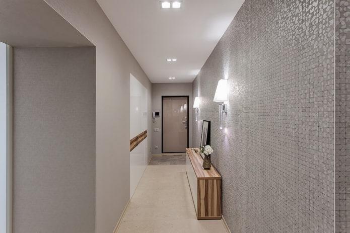 éclairage dans un couloir rectangulaire
