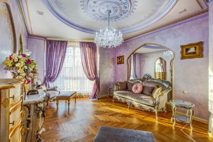 rideaux lilas dans le salon