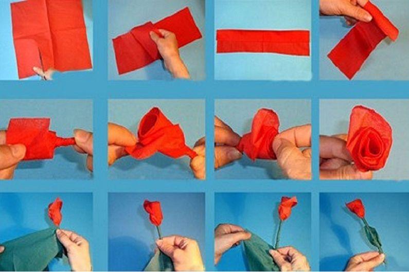 Fleurs de serviette DIY - Rose de Chine rouge