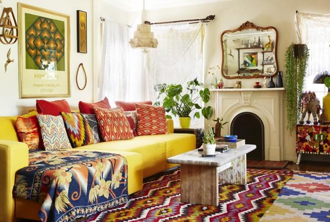 Le bois et les textiles sont les principaux matériaux du style bohème