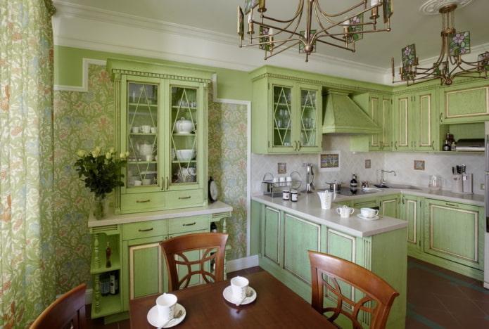 conception de cuisine aux couleurs vertes