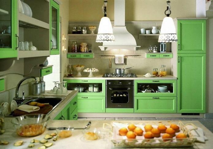 conception de cuisine dans des couleurs vert clair