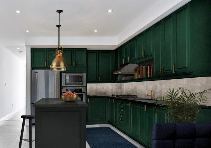 conception de cuisine dans des couleurs vert foncé
