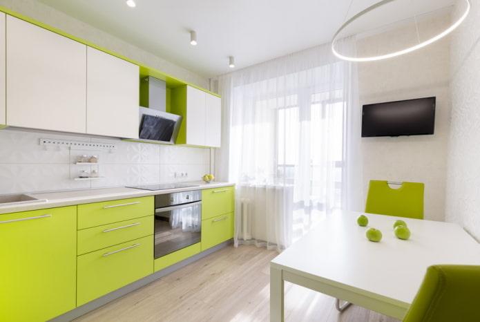 conception de cuisine dans des couleurs blanches et vertes