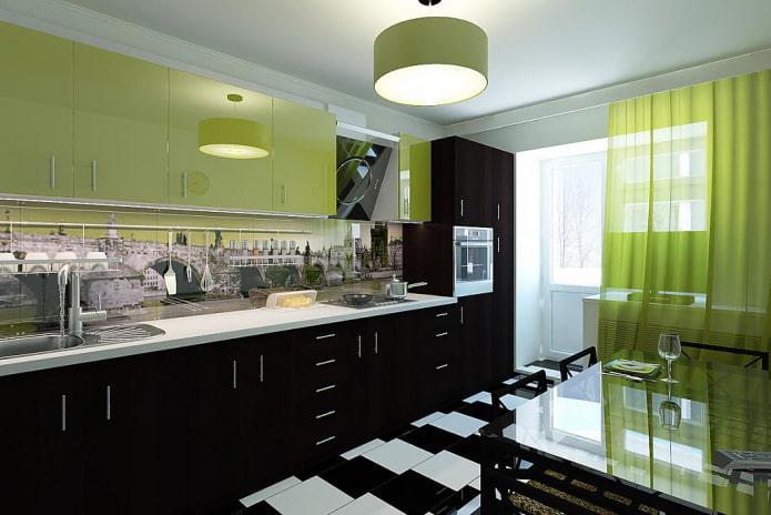 intérieur de cuisine aux couleurs noir et vert