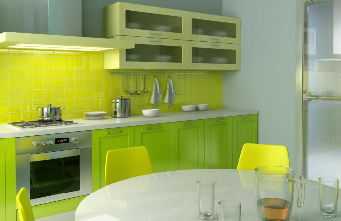 intérieur de cuisine dans des tons jaune-vert