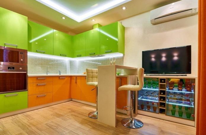 intérieur de cuisine dans des couleurs vertes et oranges