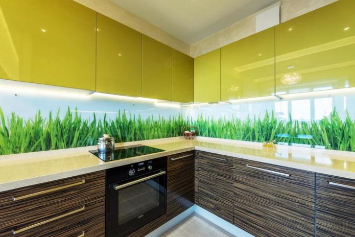 conception de cuisine dans des tons vert-marron
