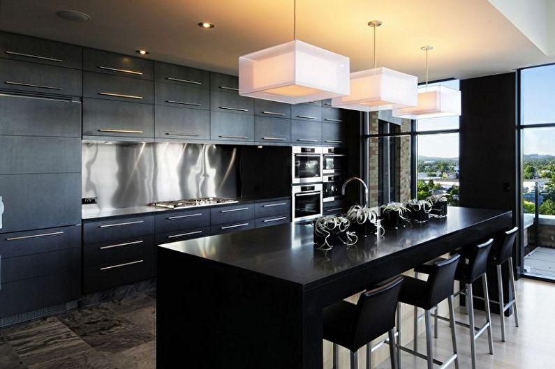 Cuisine noire moderne - Design d'intérieur