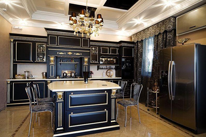 Cuisine noire dans un style classique - Design d'intérieur