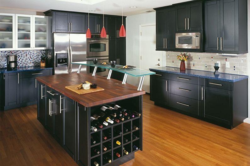 Conception de cuisine noire - Fini au sol