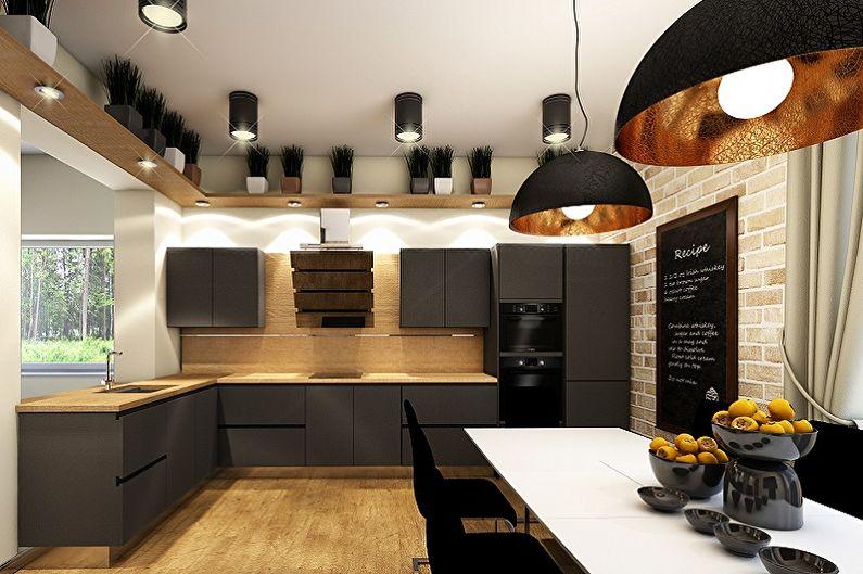 Cuisine style loft noir - Design d'intérieur