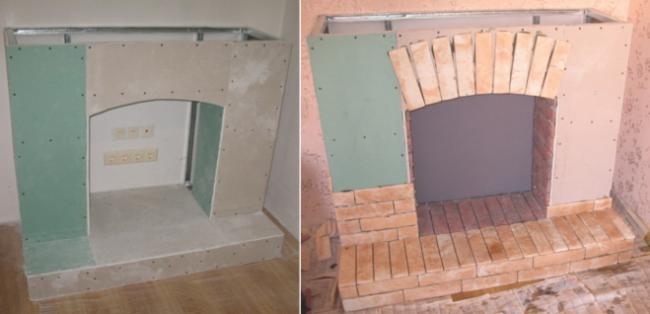 Cheminée décorative à faire soi-même: cadre en profilé métallique, revêtement - cloison sèche