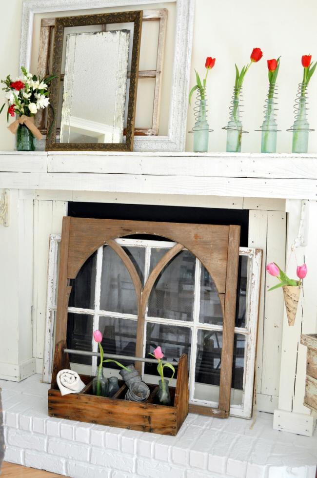 Style victorien de décoration d'une cheminée décorative