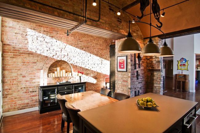 Foyer semi-circulaire pour une cuisine de style loft