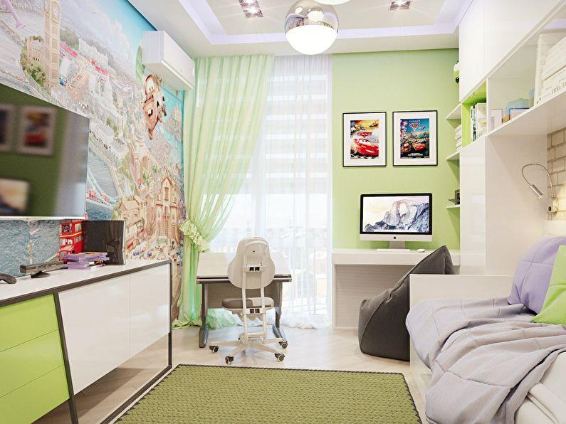 Conception d'une petite chambre d'enfants dans un style moderne