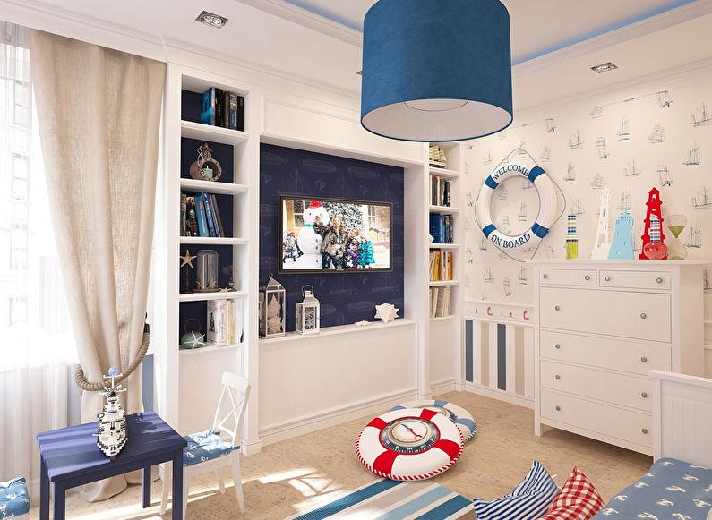 Conception d'une petite chambre d'enfants dans un style marin