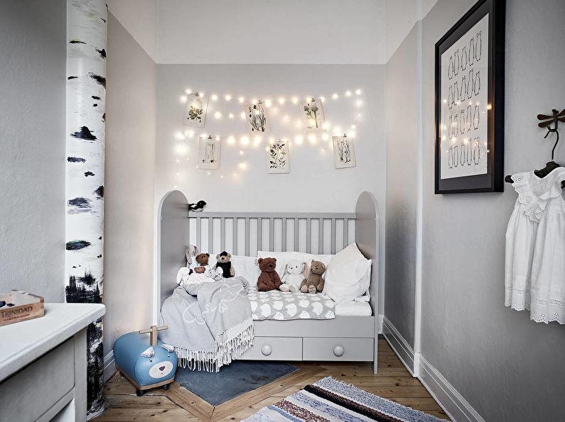 Conception d'une petite chambre d'enfant dans un style scandinave