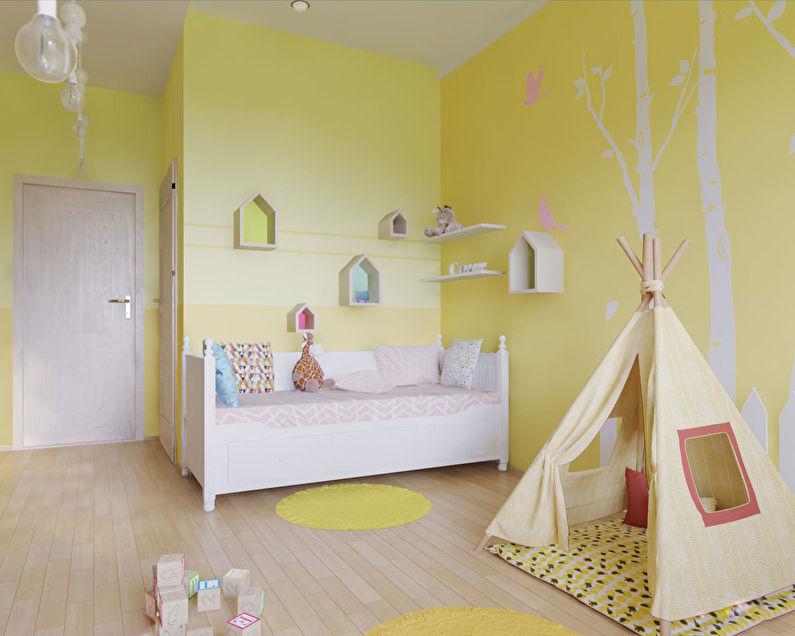 Petite chambre d'enfant dans les tons jaunes