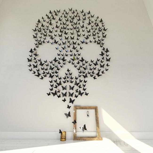 Arrangement mural de papillons en papier noir