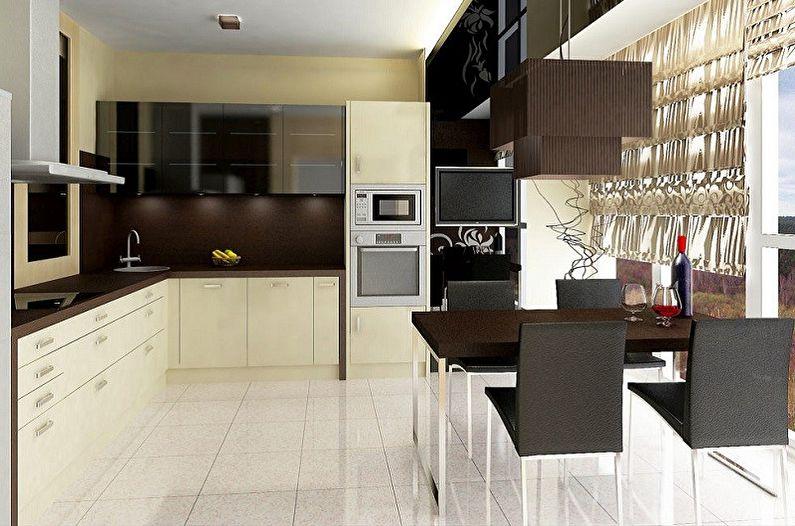 Cuisine beige moderne - Design d'intérieur