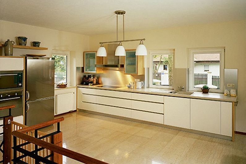 Design de cuisine beige - Fini au sol