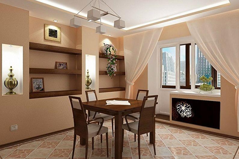 Conception de cuisine beige - Finition de plafond