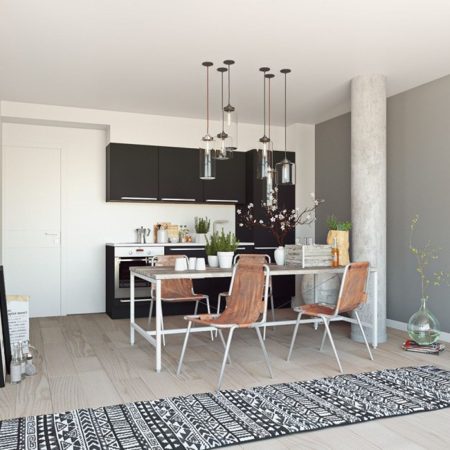 Cuisine de studio de style scandinave