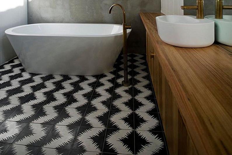 Conception de salle de bain de style scandinave - Finition de sol