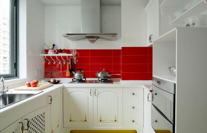 schéma de couleurs de la cuisine d'une superficie de 6 carrés