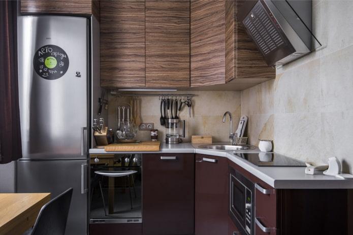Cuisine 6 carrés avec réfrigérateur