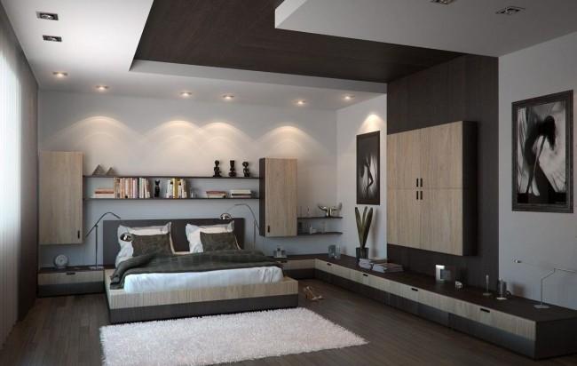Combinaison élégante de plaques de plâtre et de bois au plafond