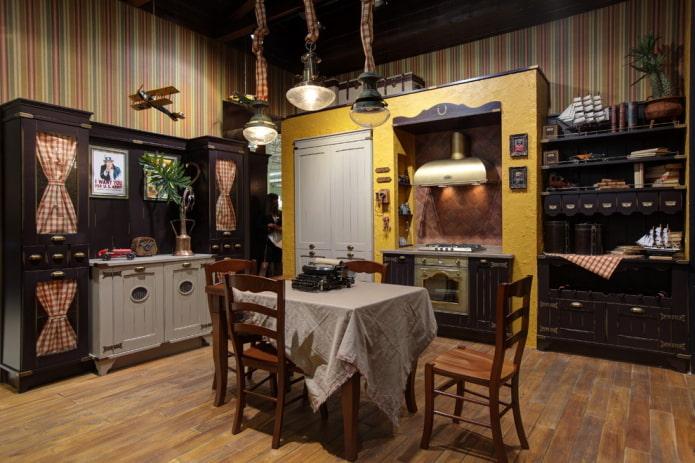décoration de cuisine dans un style campagnard rustique