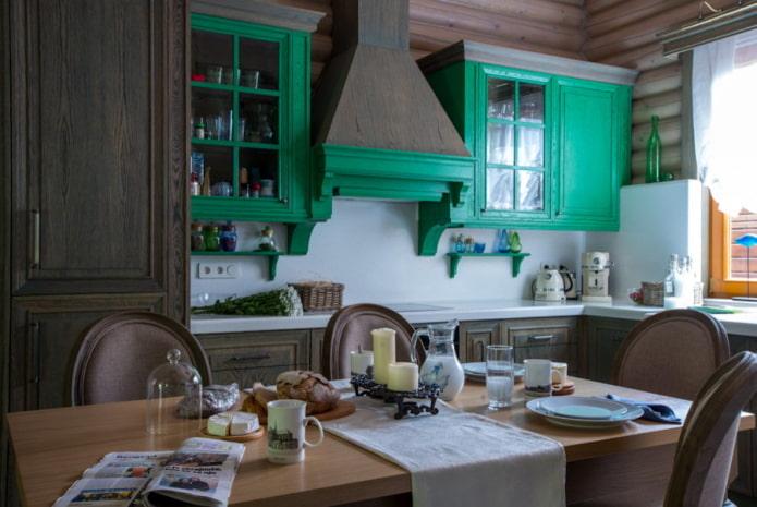décoration et éclairage dans la cuisine dans un style campagnard rustique
