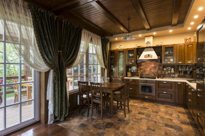textiles à l'intérieur de la cuisine dans un style campagnard rustique