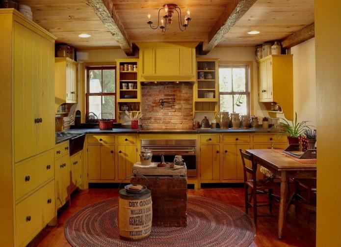 intérieur de cuisine dans un style campagnard rustique