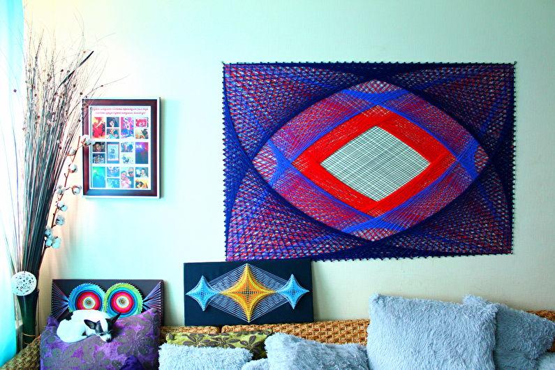 Décoration de chambre DIY - Nous décorons le mur avec des clous et des fils