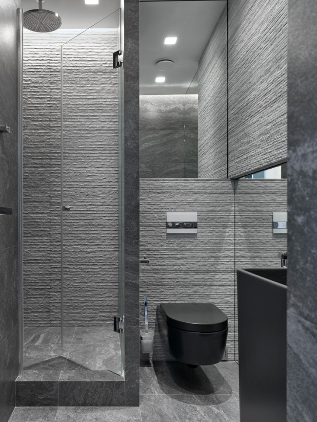 Design de salle de bain chic dans des tons de gris