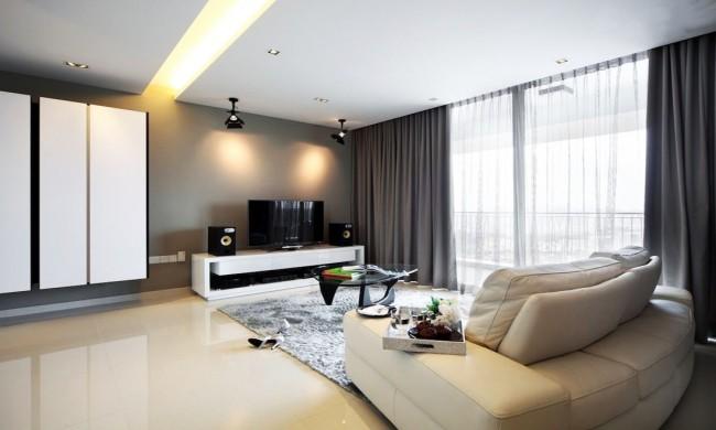 Rideaux gris foncé unis dans un salon de style high-tech
