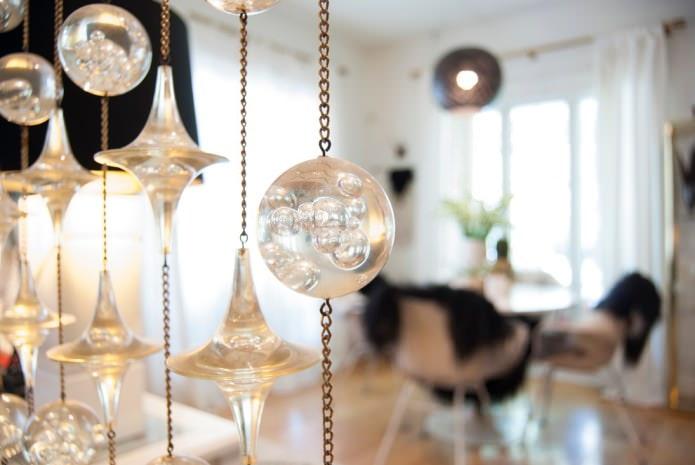 rideaux de filaments avec des perles