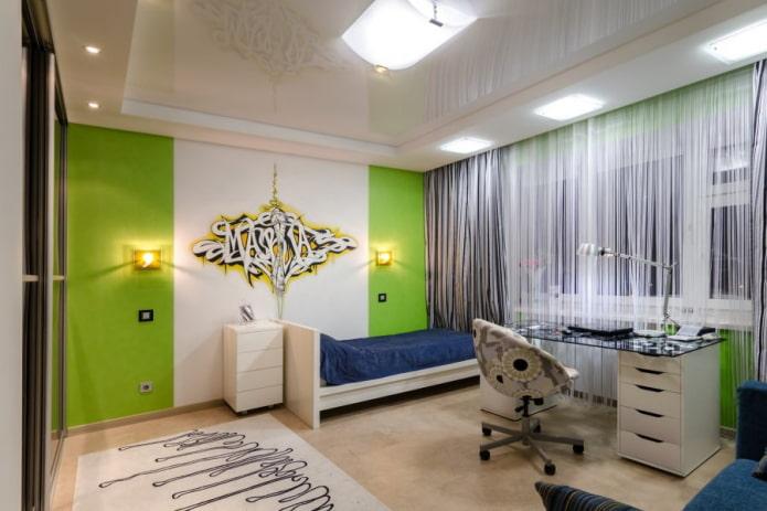 rideaux de filaments blancs à l'intérieur de la chambre des enfants