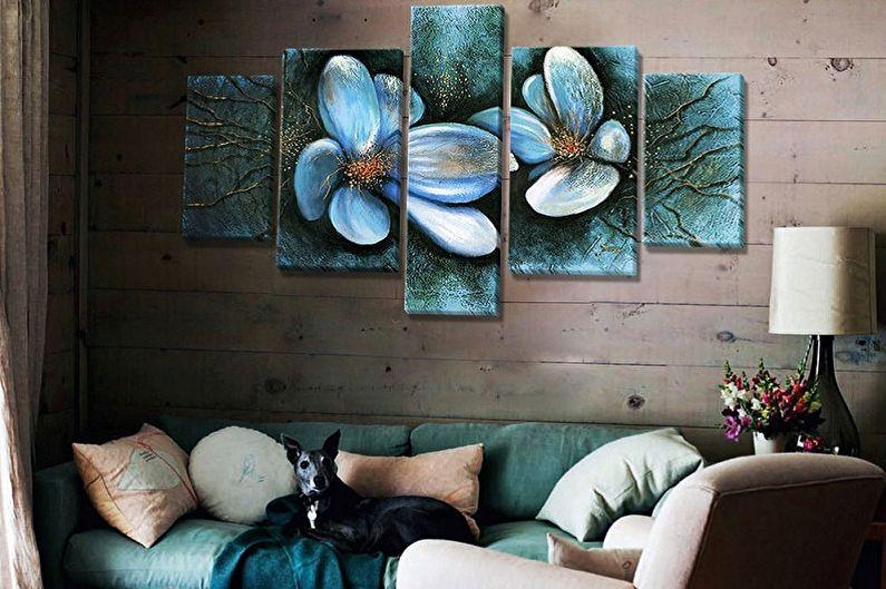 Peintures modulaires à l'intérieur du salon