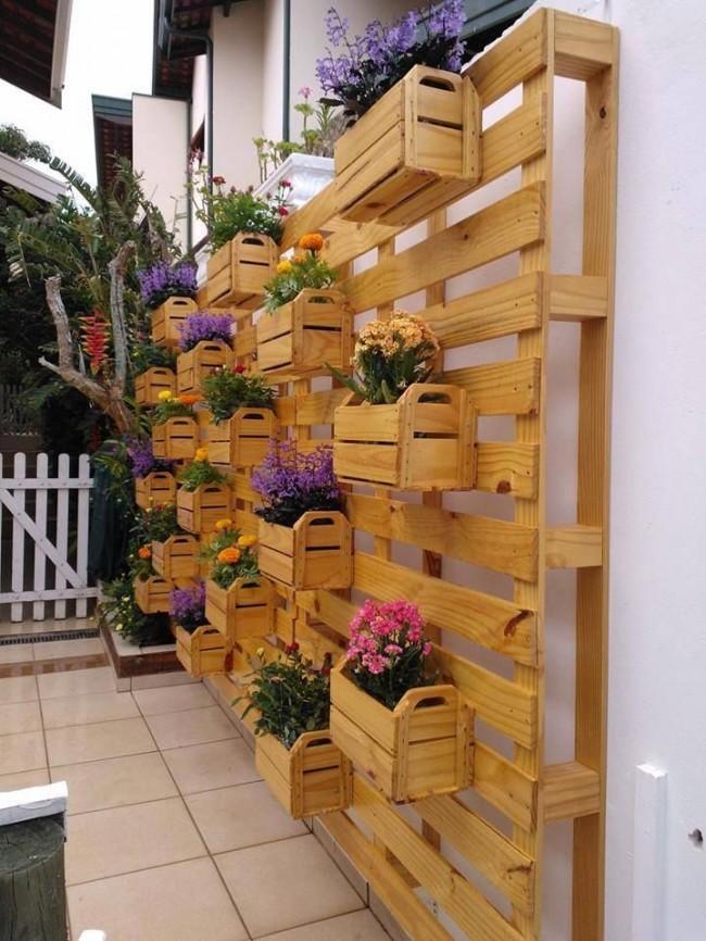 Structure en bois avec tiroirs où vous pouvez exposer des fleurs dans des pots et profiter de la vue générale du mur fleuri