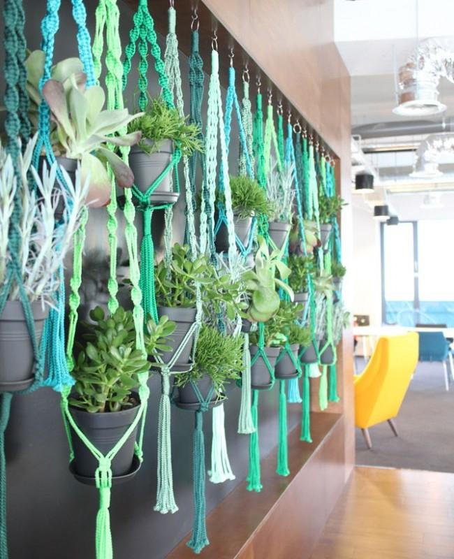 Pots de fleurs en fils de toutes les nuances de vert - pour la décoration intérieure