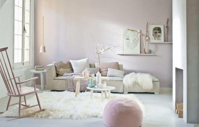 salon aux couleurs pastel