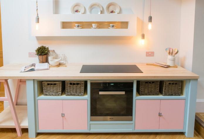 conception de cuisine aux couleurs pastel