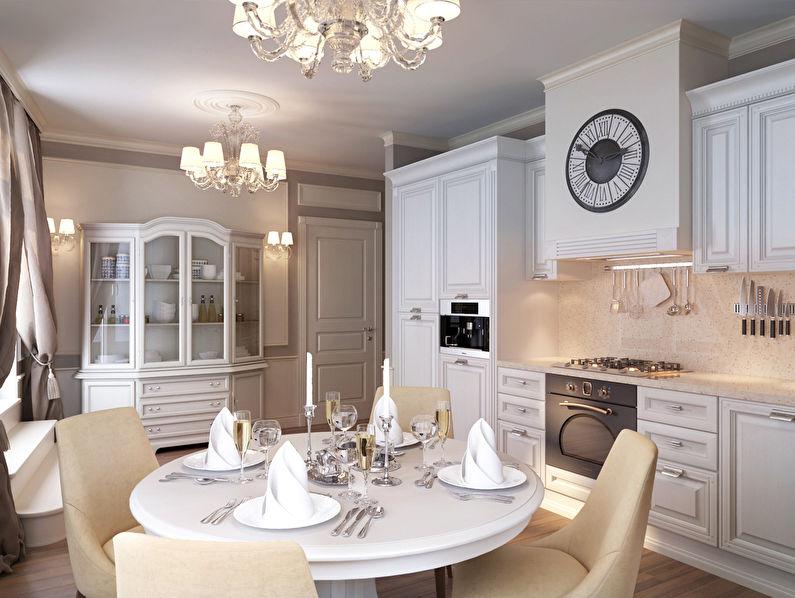 Cuisine blanche dans un style classique - design d'intérieur