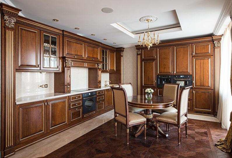 Cuisine marron classique - design d'intérieur