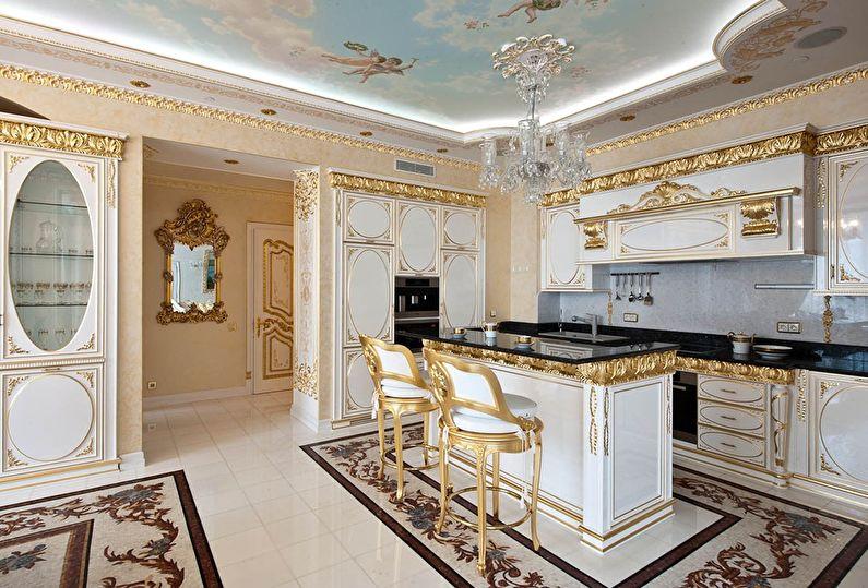Cuisine classique en or - design d'intérieur